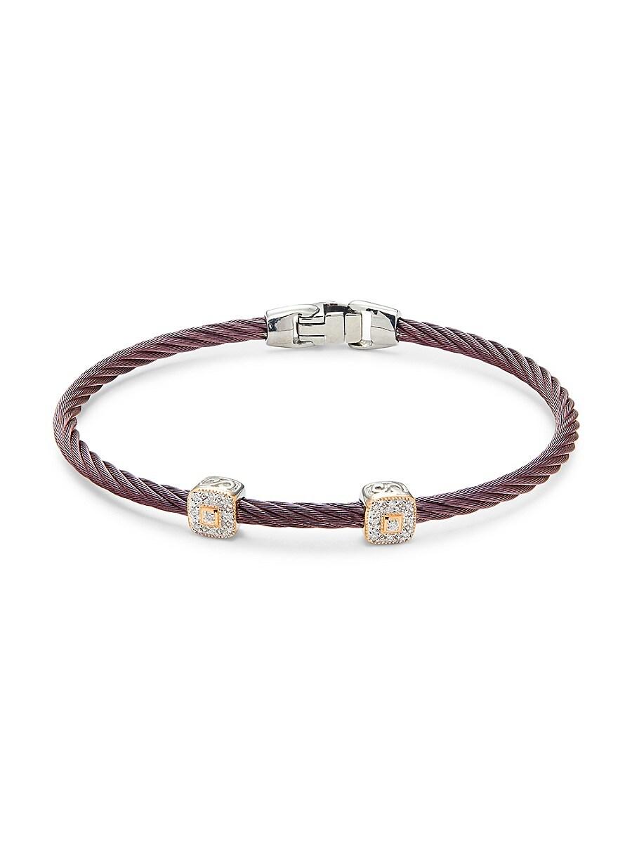 Women's 18K Two-Tone Gold & Diamond Cable Bracelet