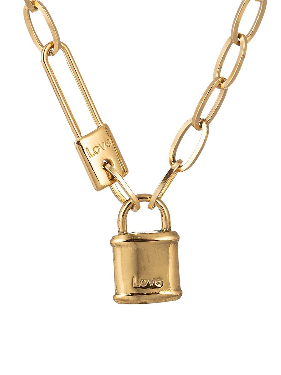 Women's Luxe Collection 18K Goldplated Lock Necklace