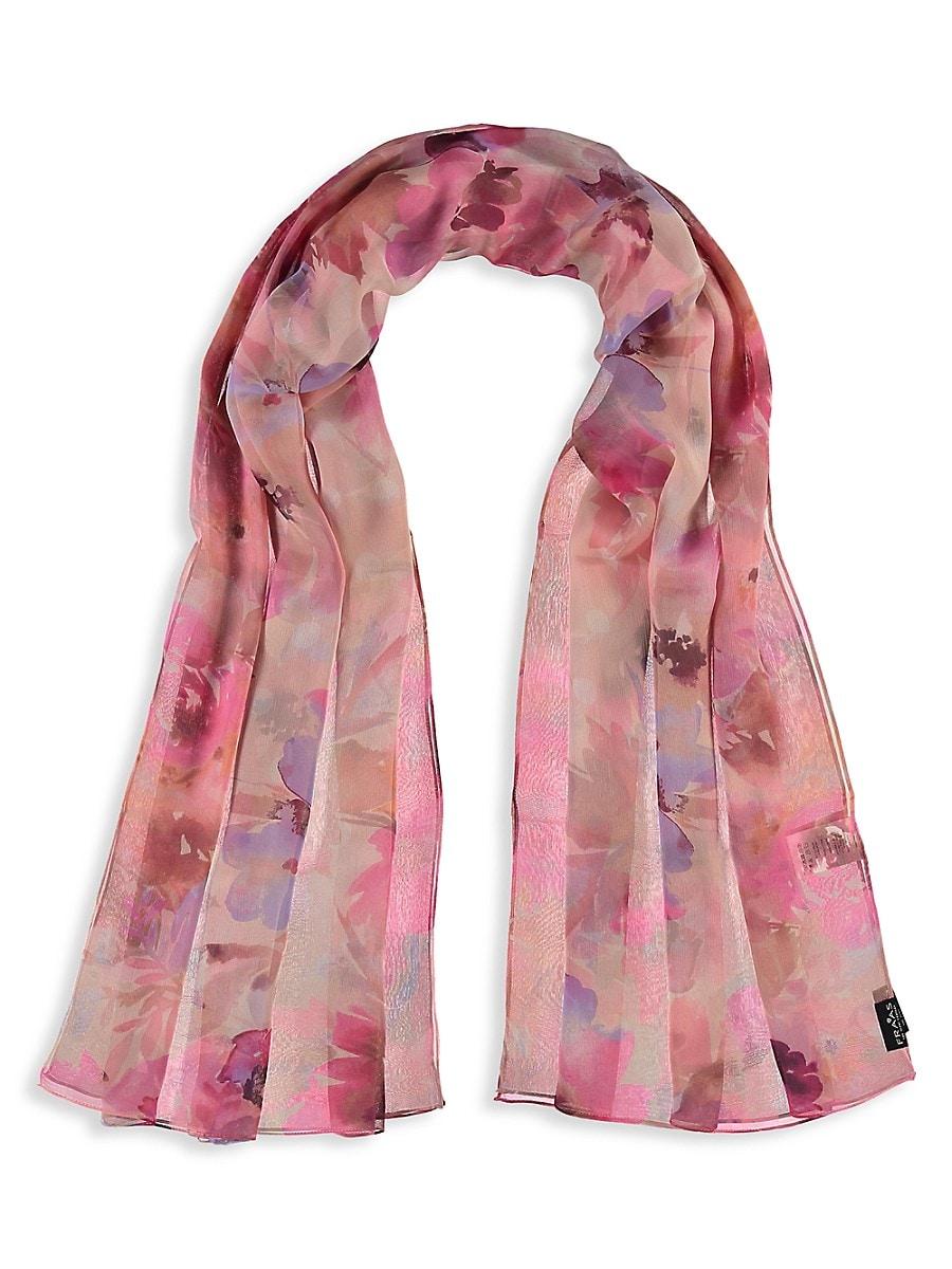Women's Floral Watercolor Silk Scarf
