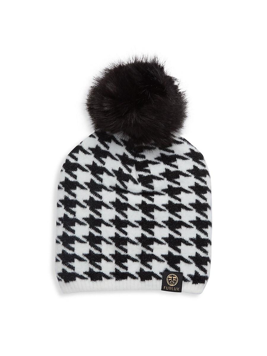 Women's Faux Fur Pom-Pom Houndstooth Beanie