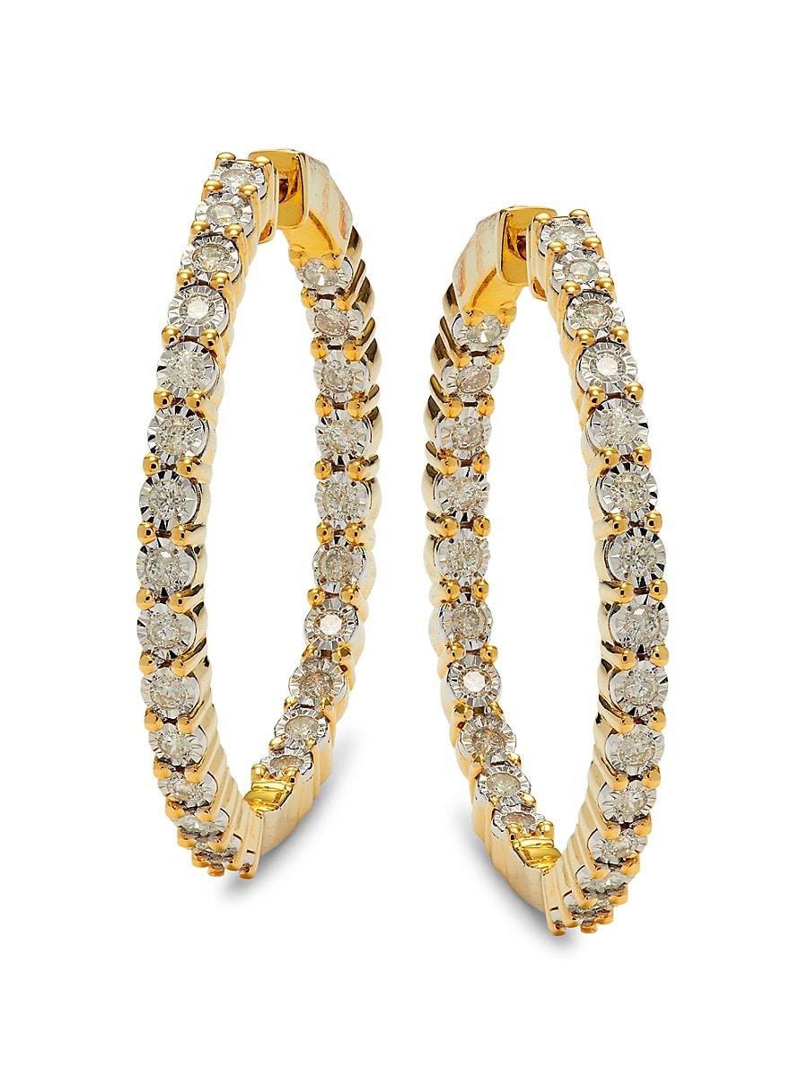 Women's Goldplated Sterling Silver & Diamond Hoop Earrings