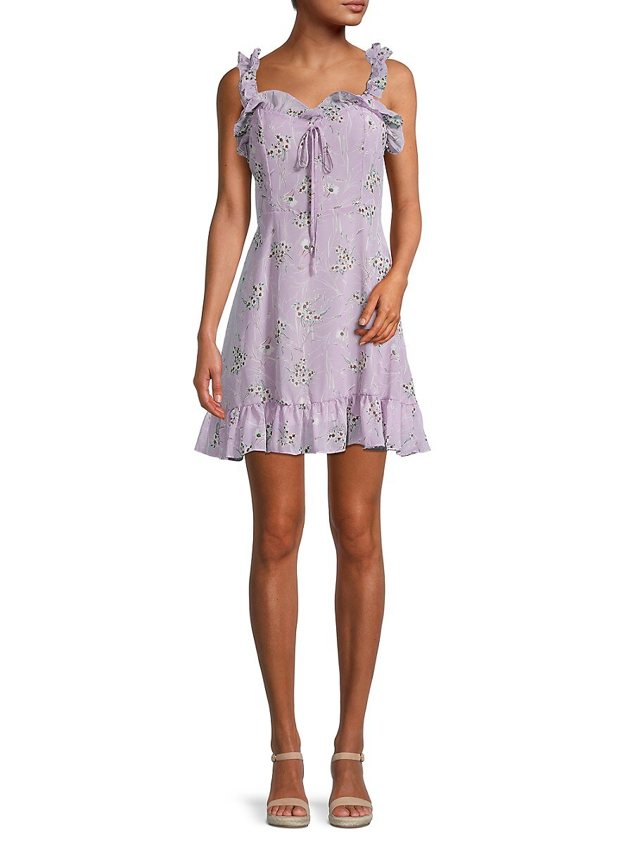 Women's Ruffle Floral Flare Dress