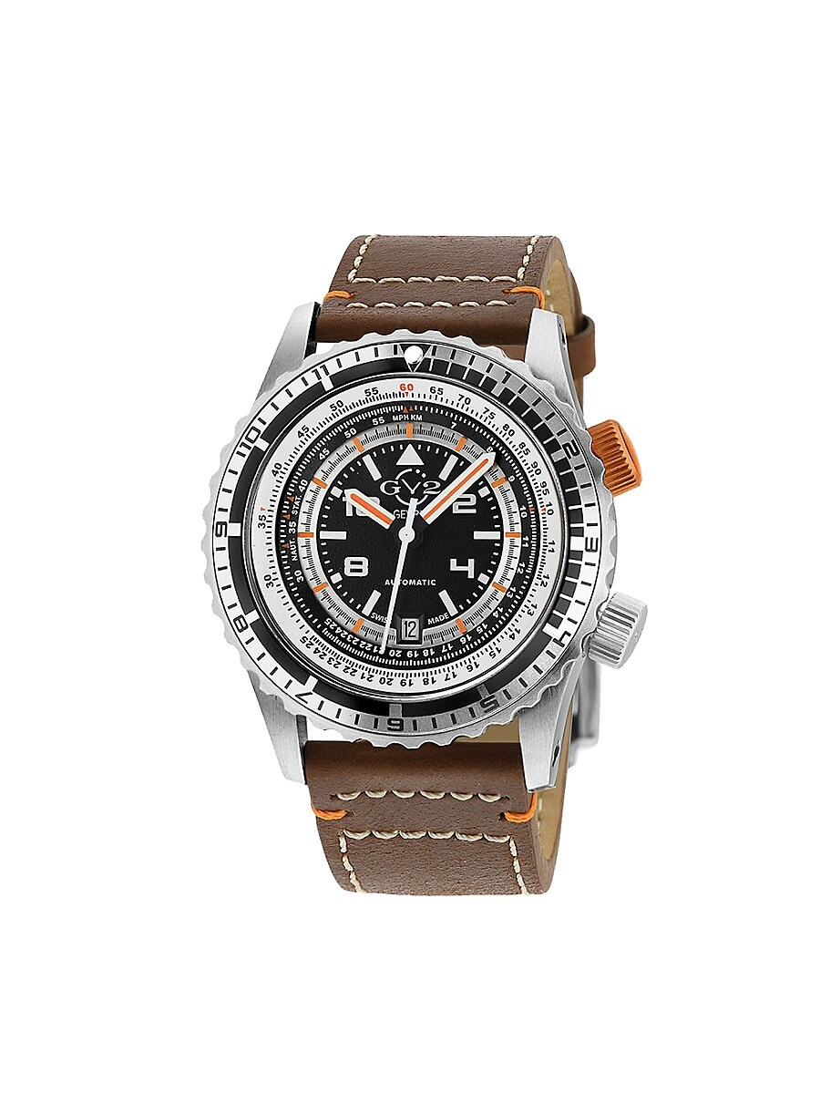 Men's Contasecondi Swiss Automatic Leather-Strap Watch