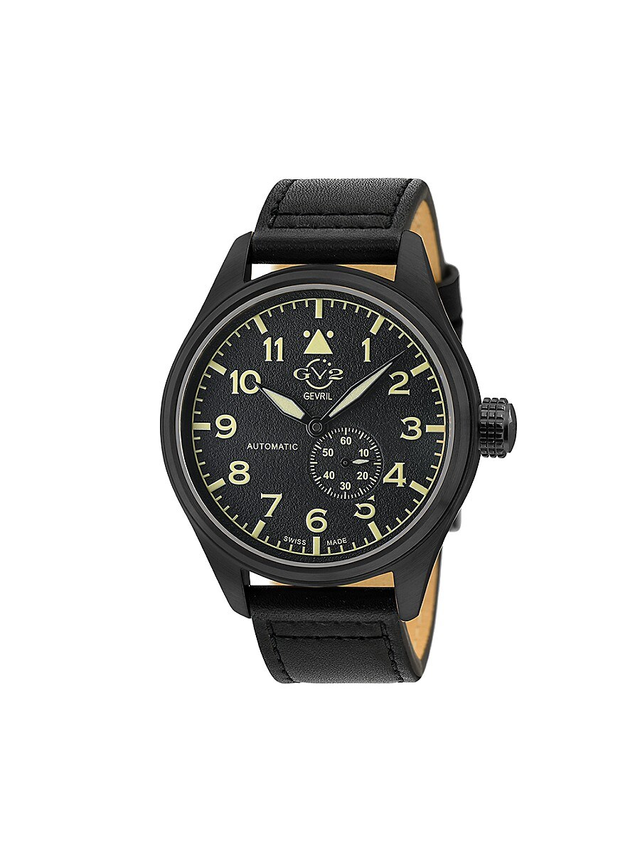 Men's Aeronautica Swiss Automatic Stainless Steel & Leather-Strap Watch