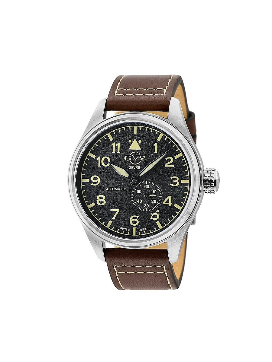 Men's Aeronautica Swiss Automatic Stainless Steel & Leather Strap Pilot Watch