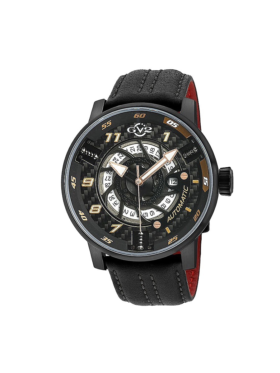 Men's Motorcycle Sport Swiss Automatic Stainless Steel & Leather Strap Watch
