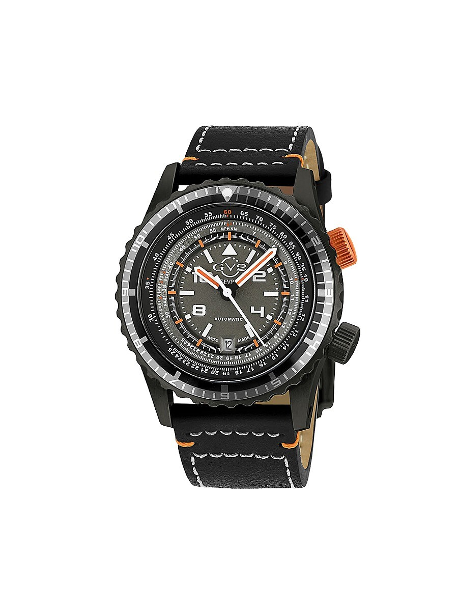 Men's Contasecondi Swiss Automatic & Leather Strap Watch
