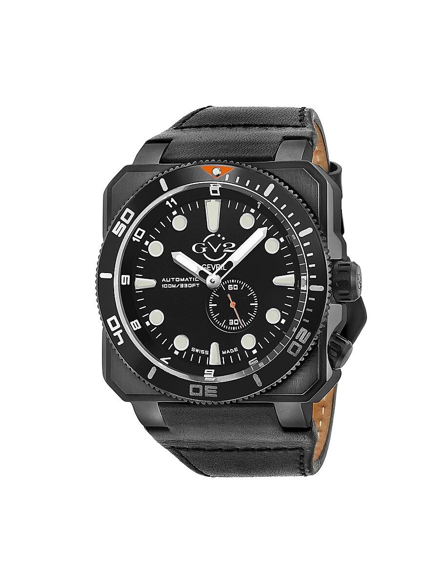 Men's XO Submarine Swiss Automatic Chrono & Leather-Strap Watch