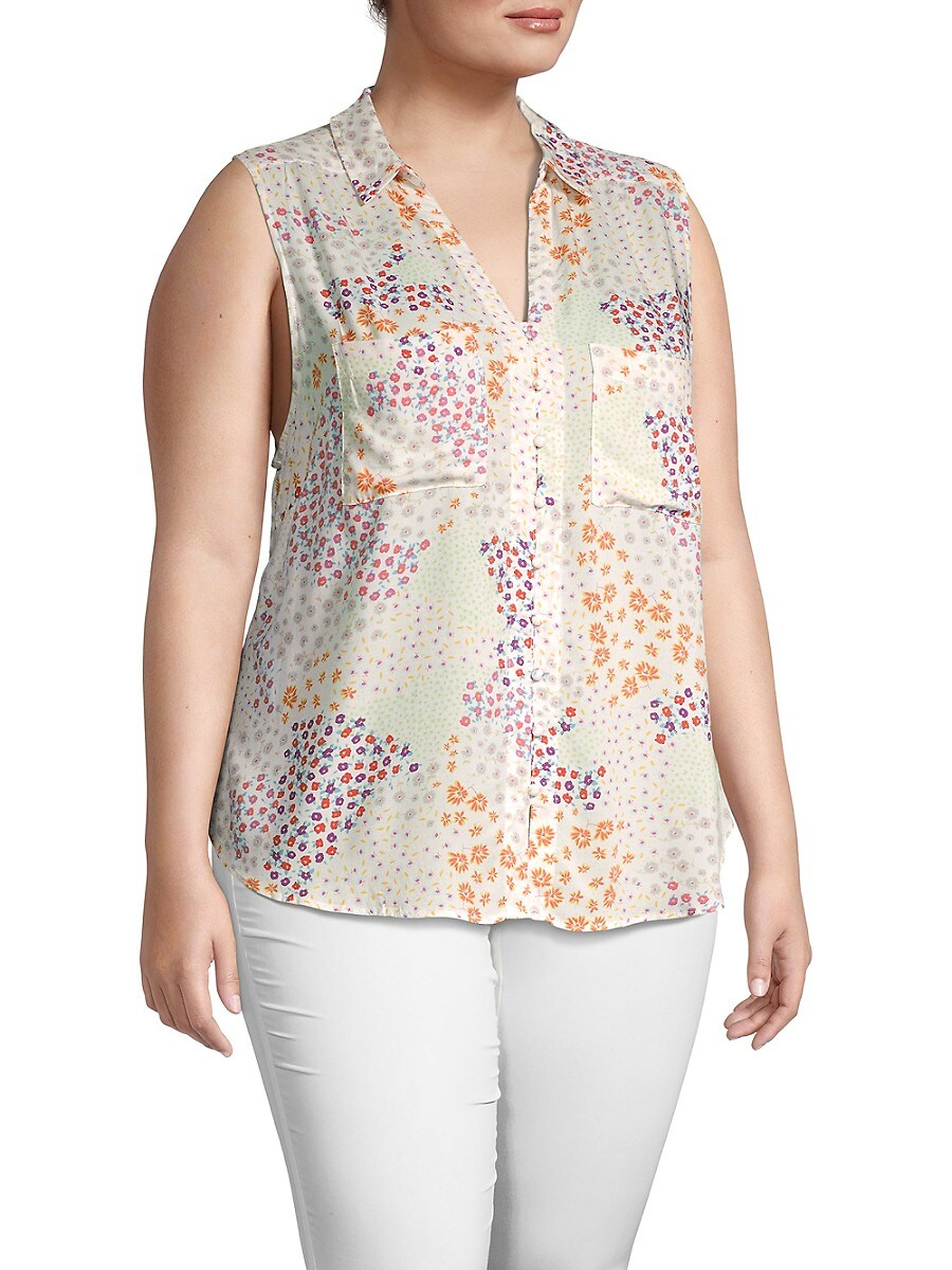 Women's Plus Floral Sleeveless Shirt