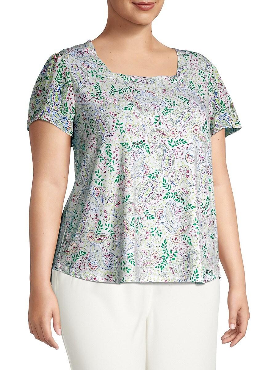 Cooper & Ella Women's Plus Paisley-Print Top - White Green Blue Combo - Size 3X (22-24)