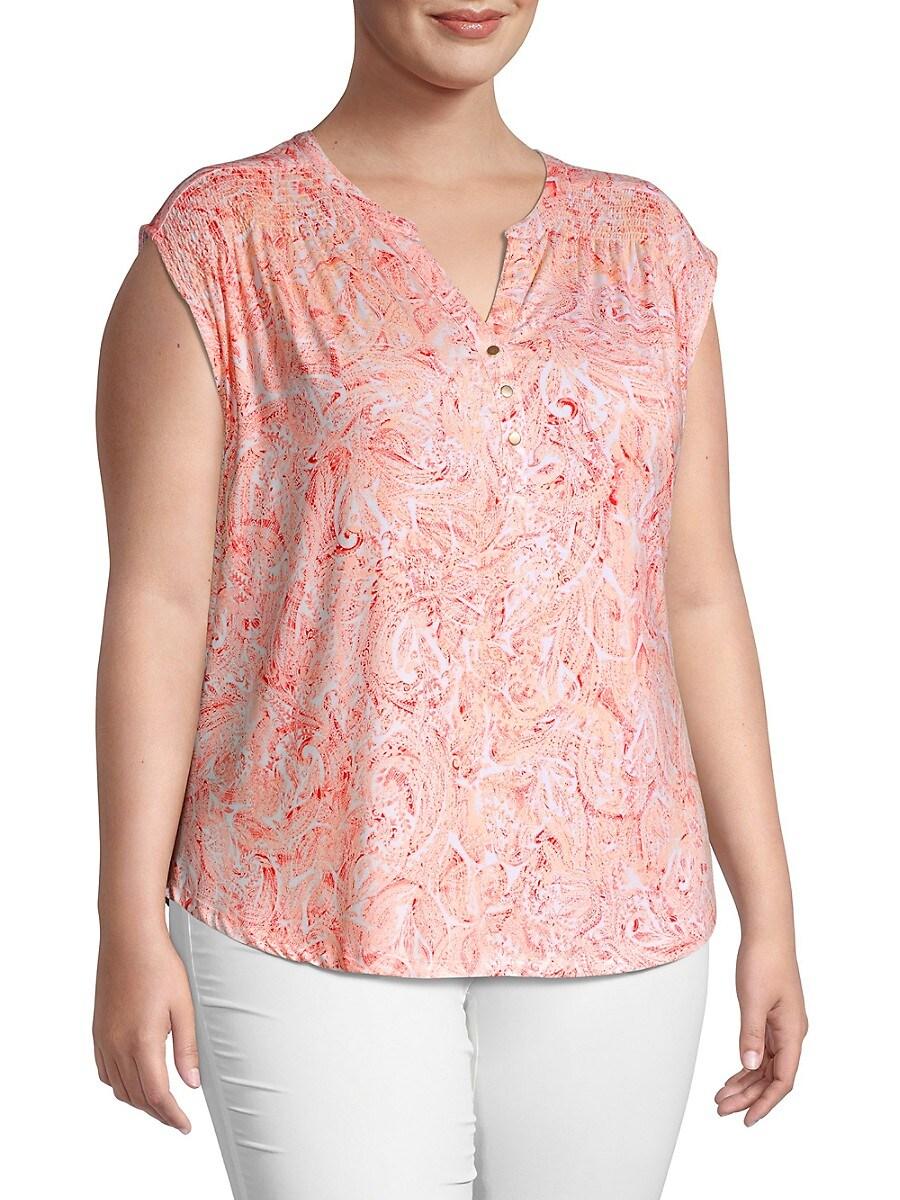 Cooper & Ella Women's Plus Paisley-Print Top - Peach Pink - Size 3X (22-24)
