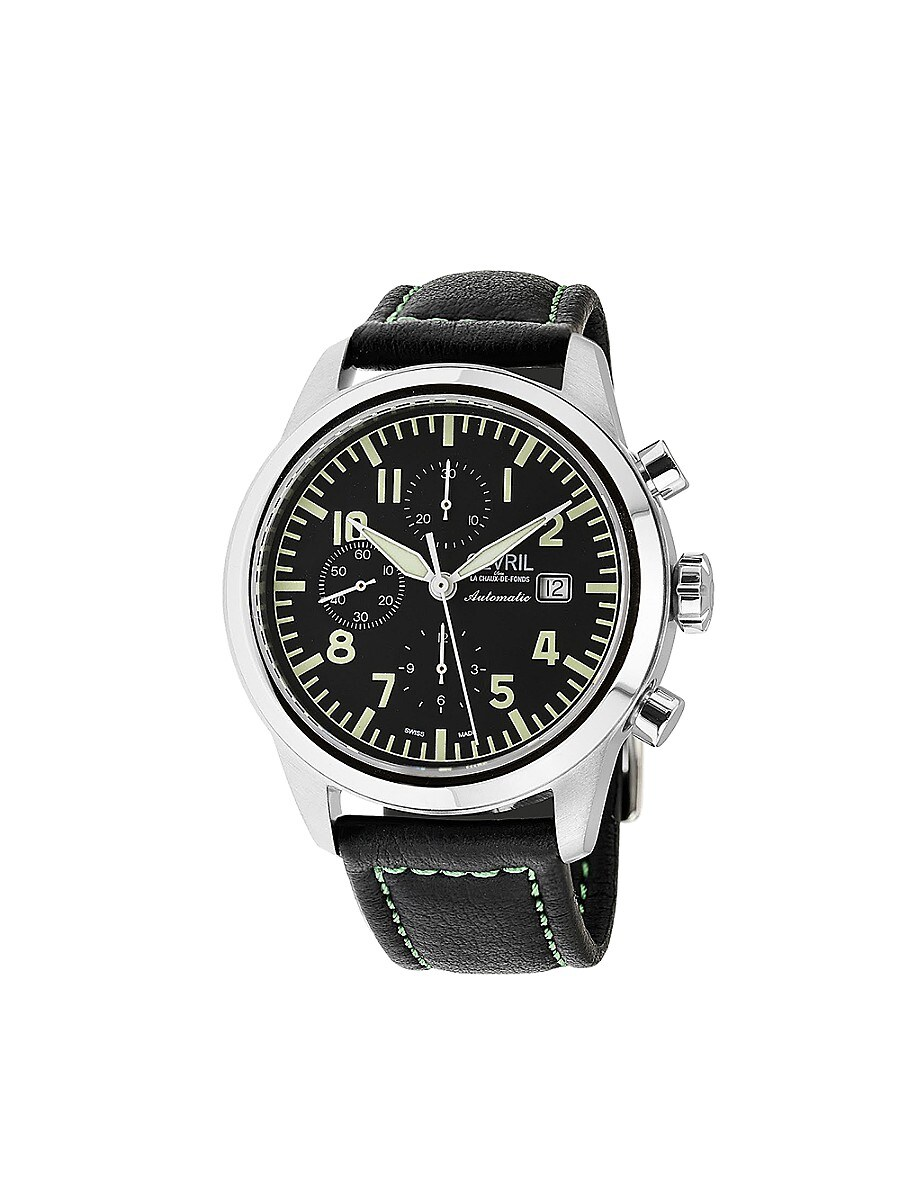 Men's Vaughn Swiss Automatic Stainless Steel & Leather Strap Chronograph Pilot Watch