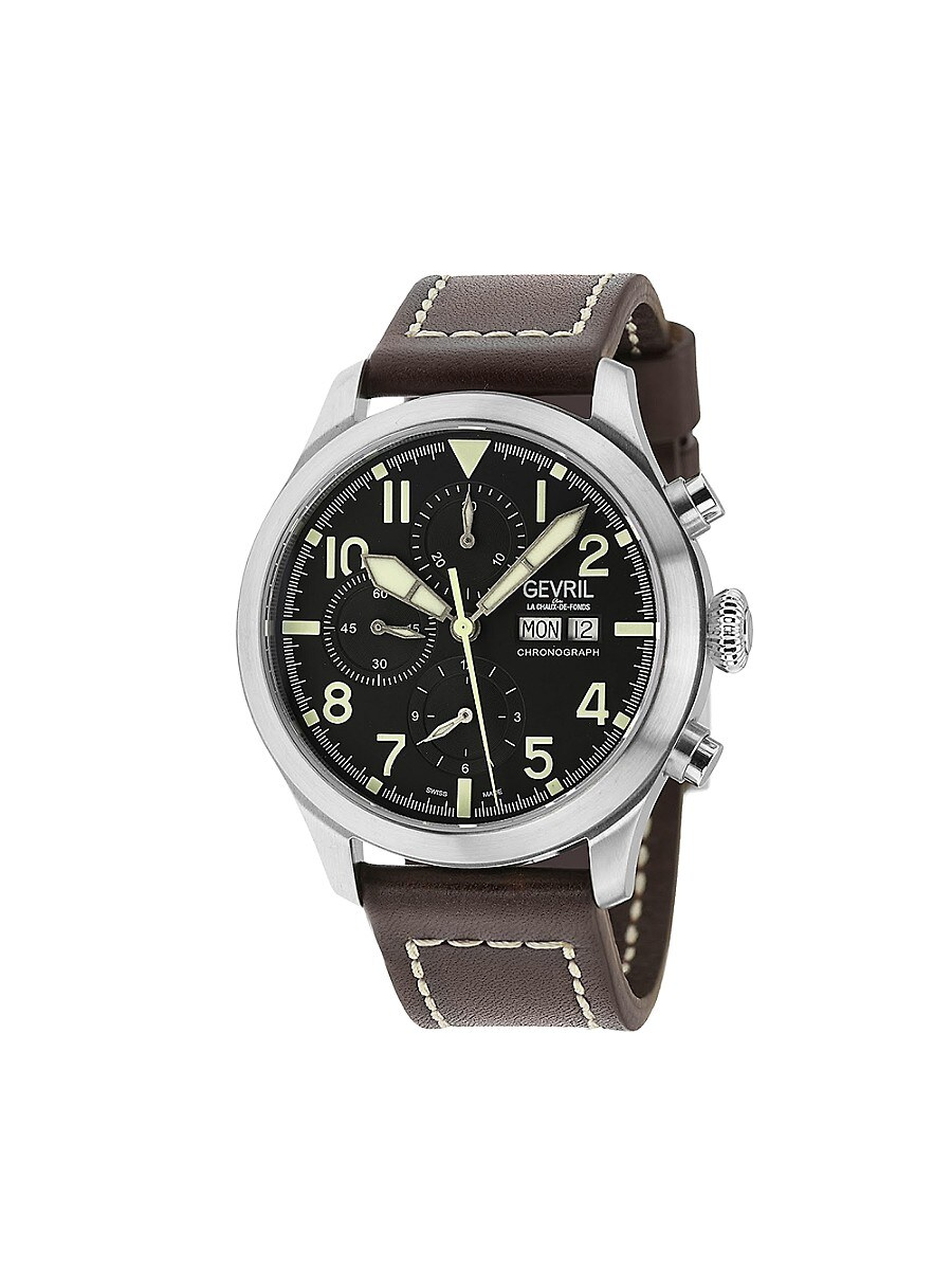 Men's Vaughn Pilot Swiss Automatic Chronograph Exhibition-Back Stainless Steel & Leather Strap Watch