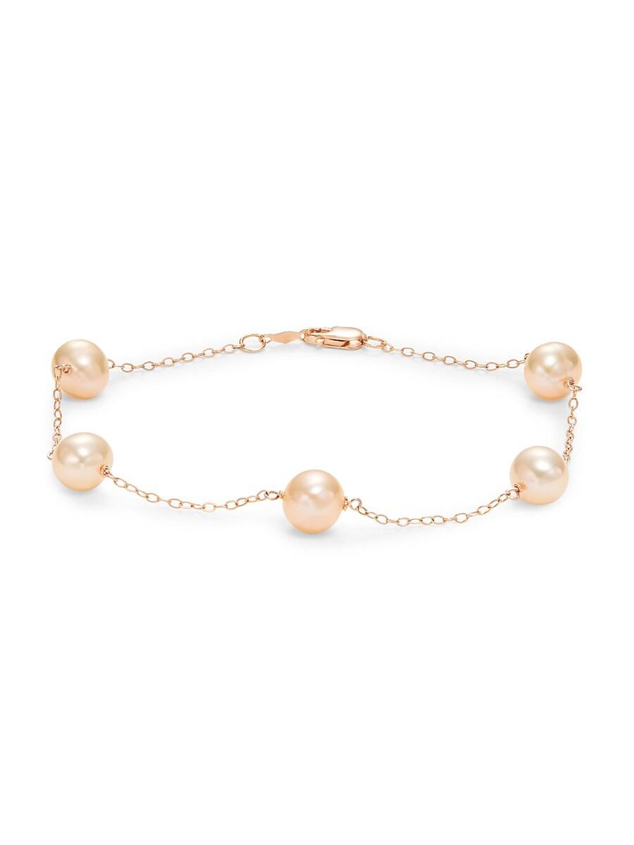 Women's 14K Rose Gold & 7-8MM Freshwater Pearl Bracelet