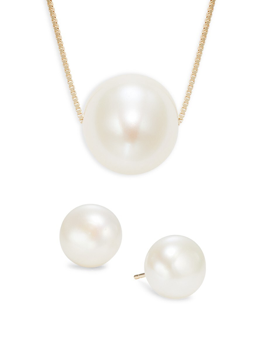 Women's 14K Yellow Gold & 9-10MM Freshwater Pearl Pendant Necklace & Earrings Set