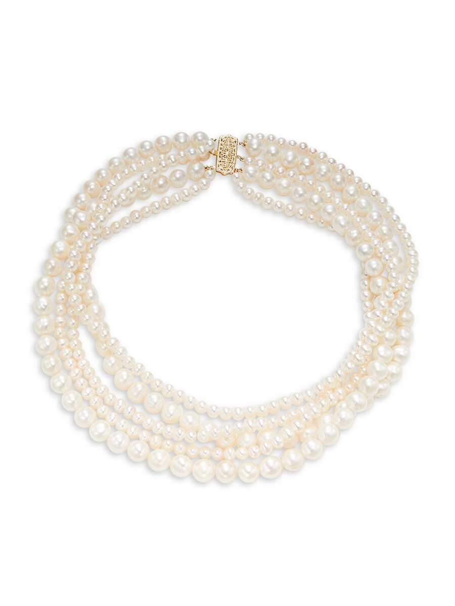 Women's 14K Yellow Gold Round Freshwater Pearl Necklace