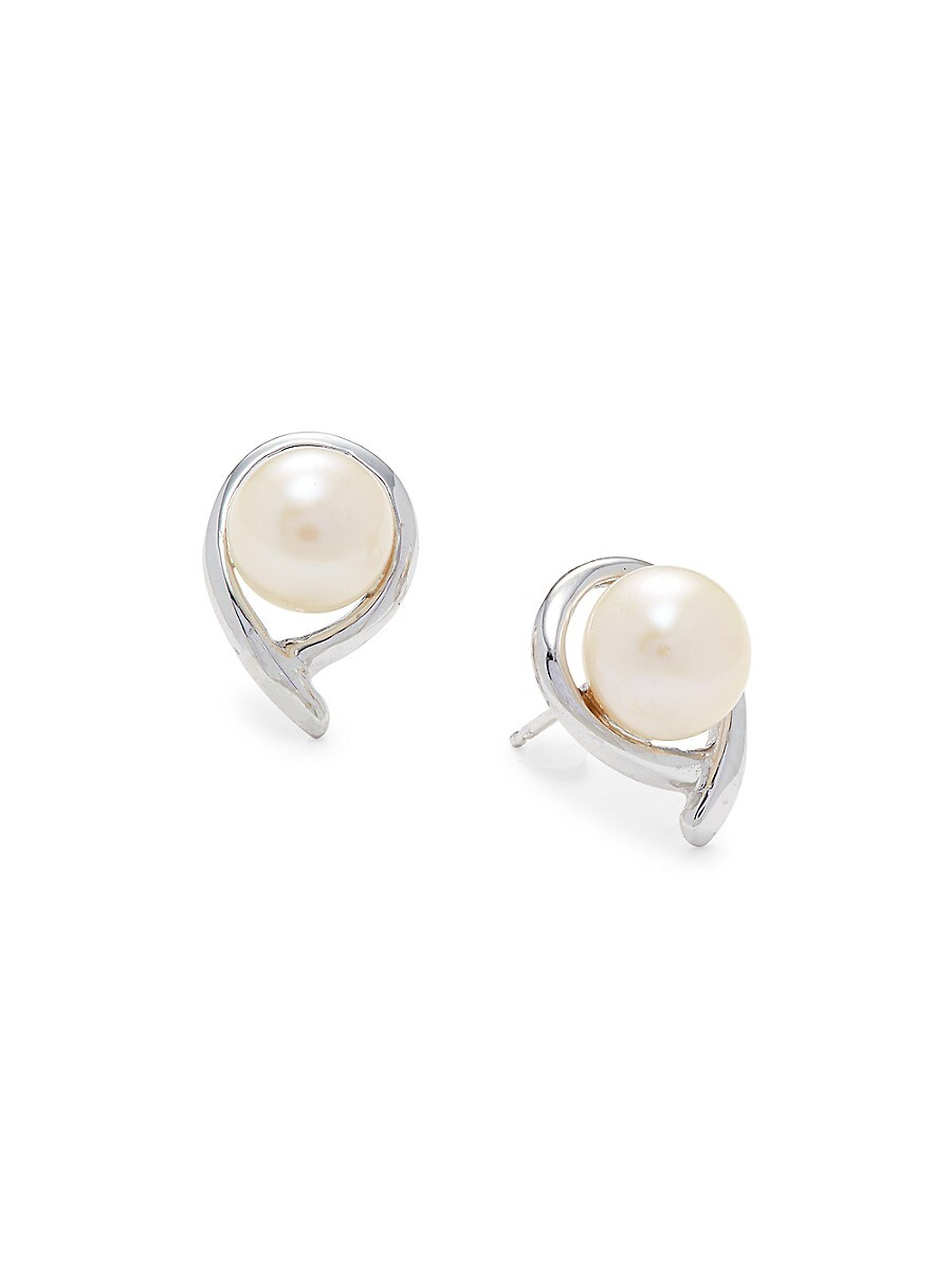 Women's 14K White Gold Round Freshwater Pearl Earrings