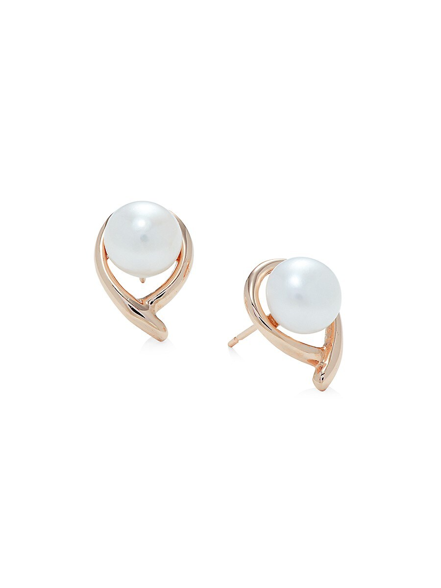 Women's 14K Rose Gold & 7-8MM Freshwater Pearl Stud Earrings