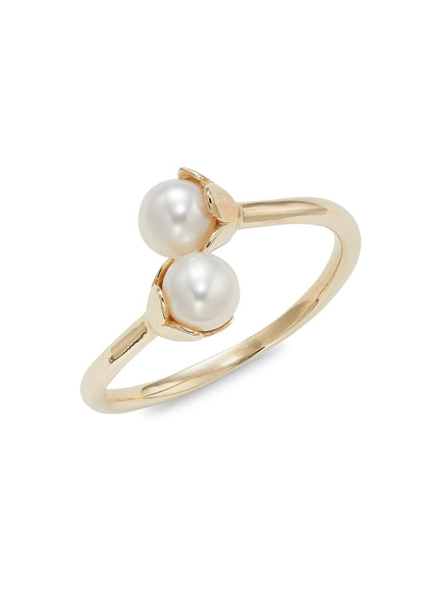Women's 14K Yellow Gold Round Freshwater Pearl Ring