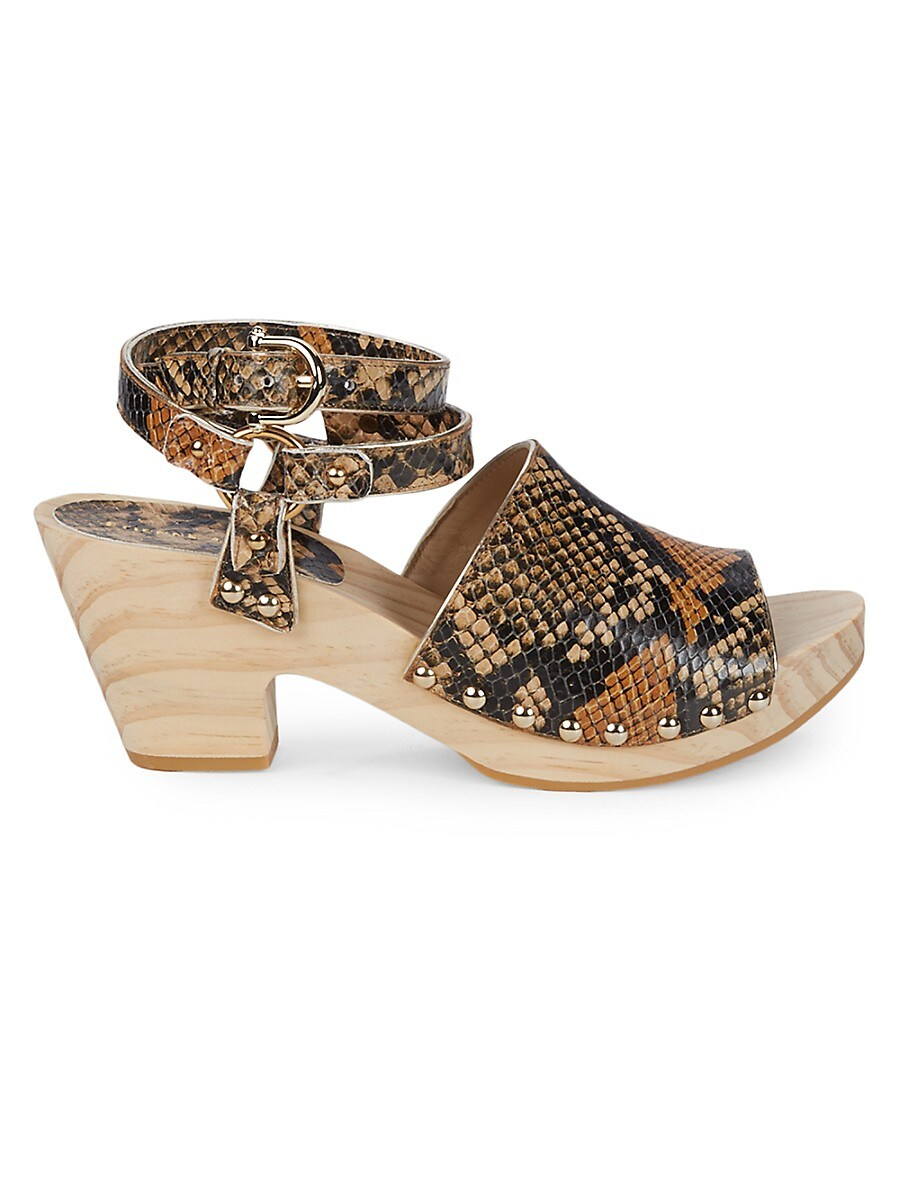 Women's Ankle-Strap Leather Clogs