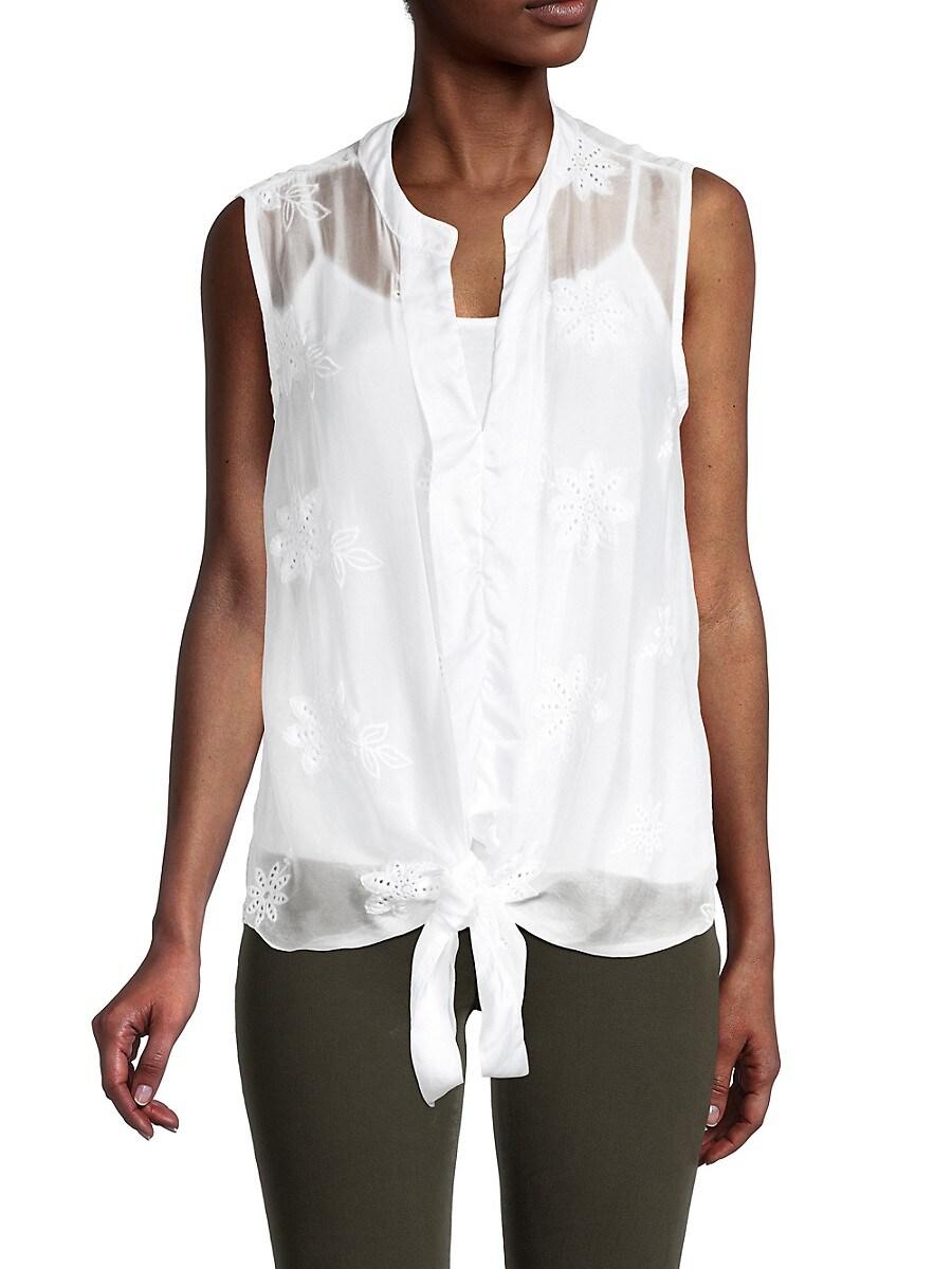 Women's Embroidered Silk Sleeveless Top