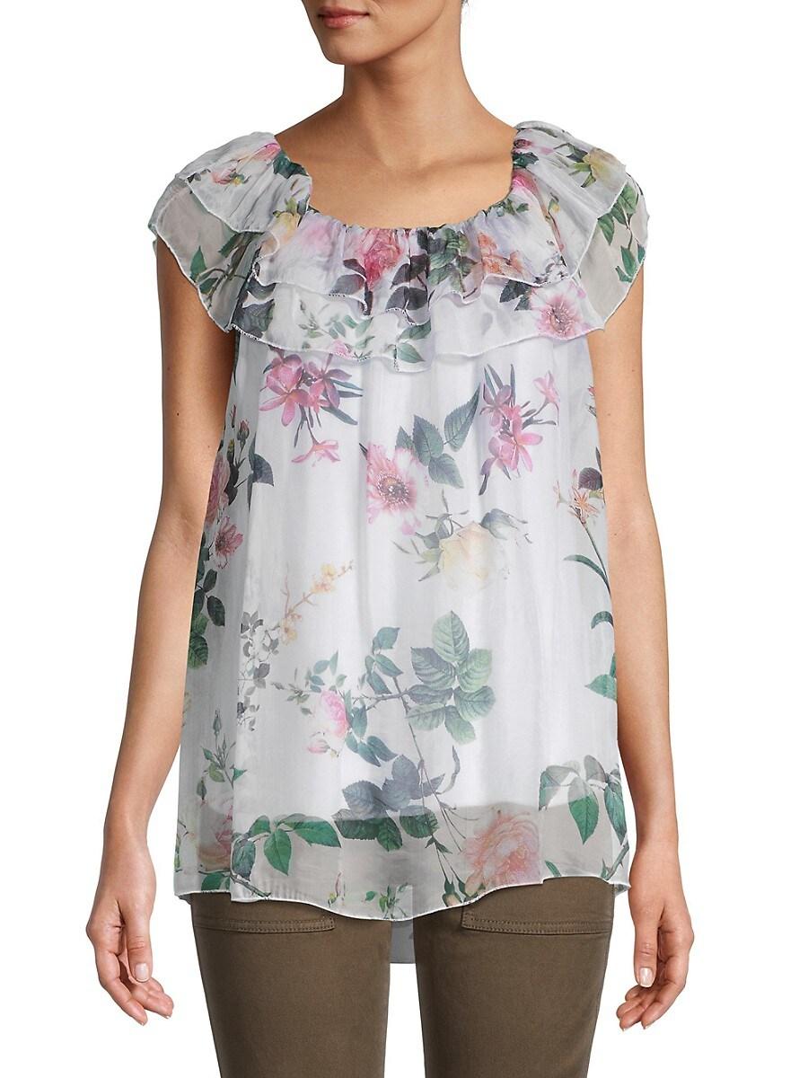 Women's Floral Ruffle Silk Top