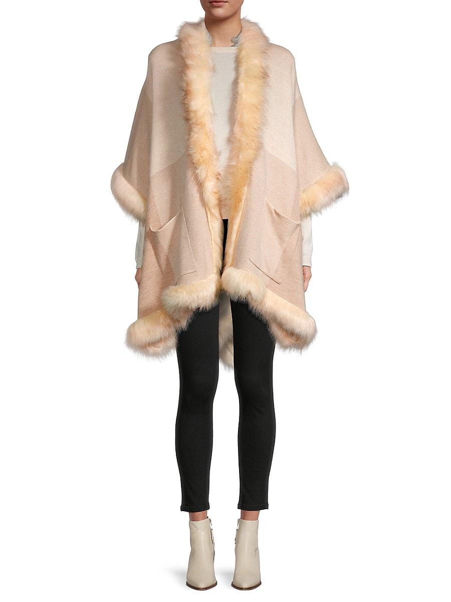 Women's Faux Fur-Trim Poncho