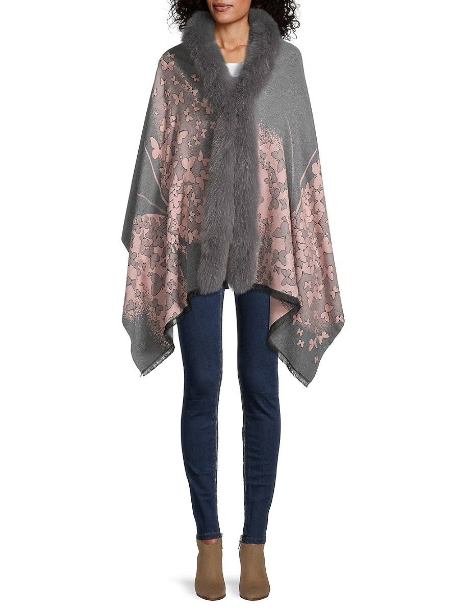 Women's Butterfly-Print & Fox Fur-Trim Wrap