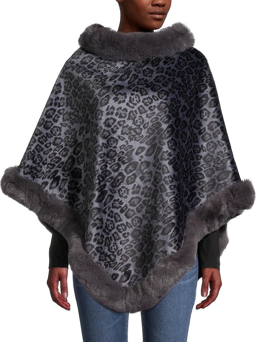 Women's Leopard-Print Faux Fur Poncho