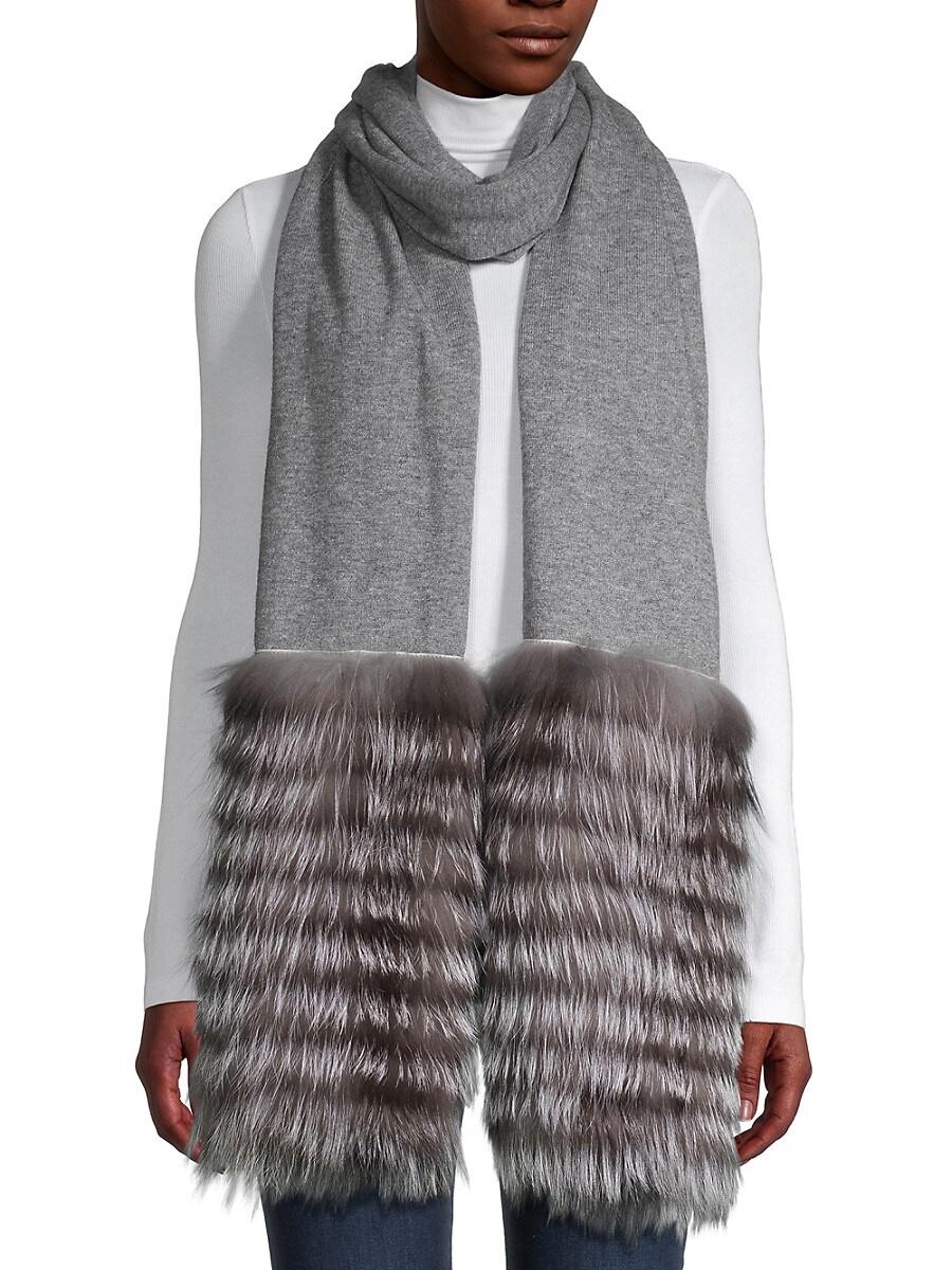 Women's Knit Silver Fox Fur Scarf