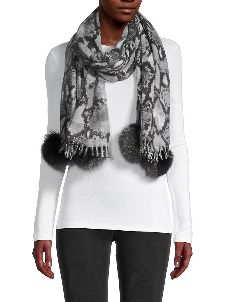 Women's Snakeskin-Pattern & Fox Fur Pom-Pom Scarf
