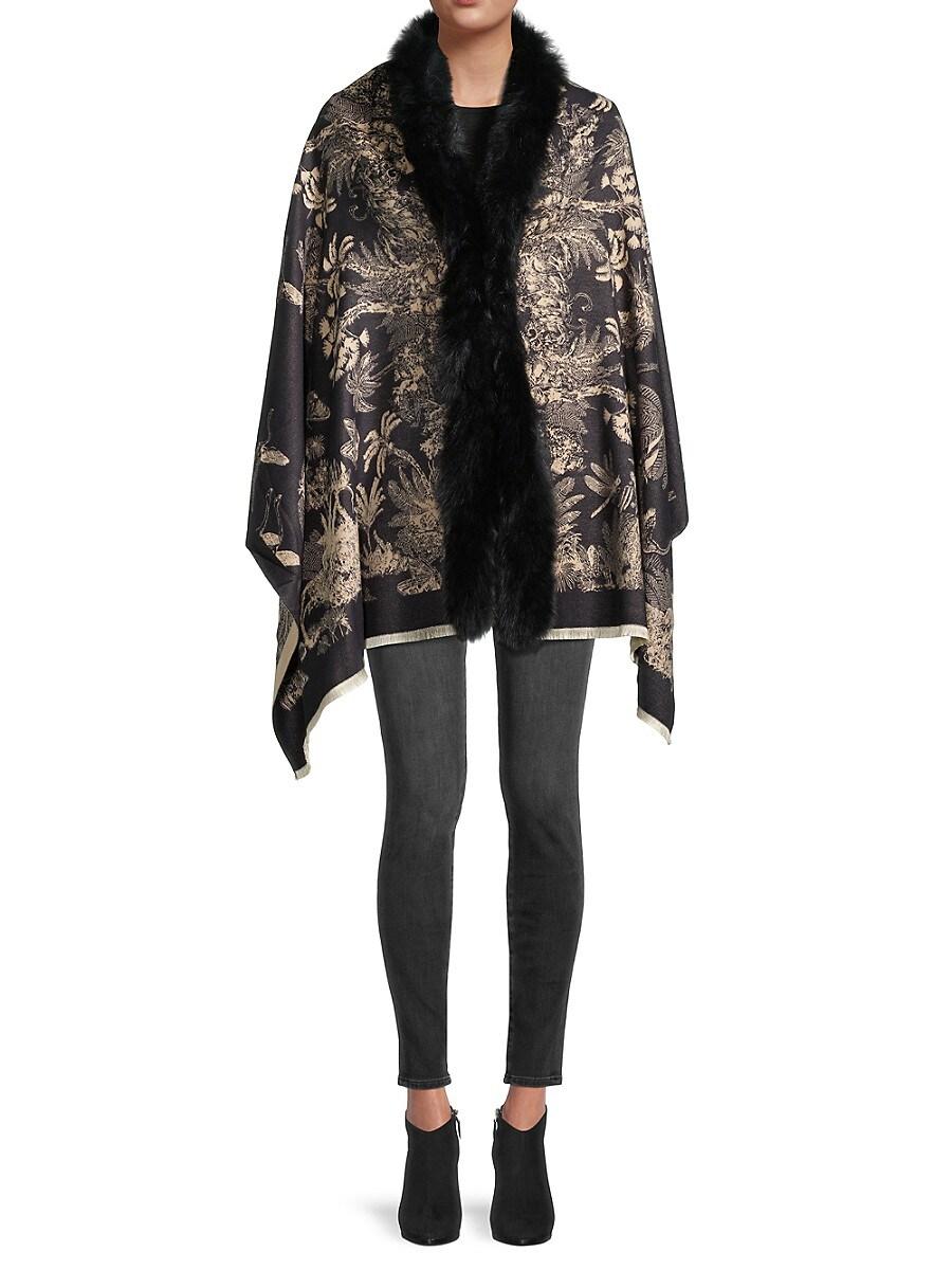 Women's Fox Fur-Trim & Garden-Print Wrap