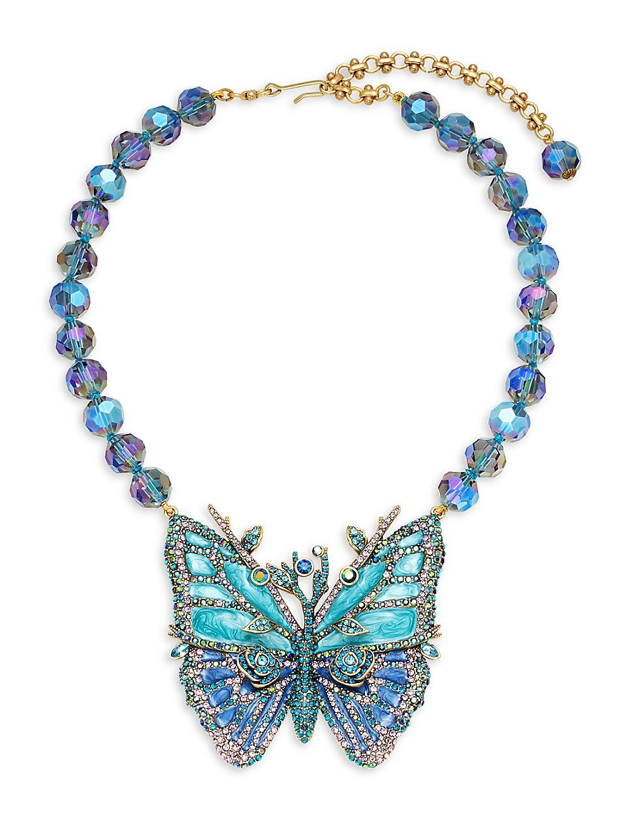Women's Metal Alloy & Crystal Butterfly Statement Necklace