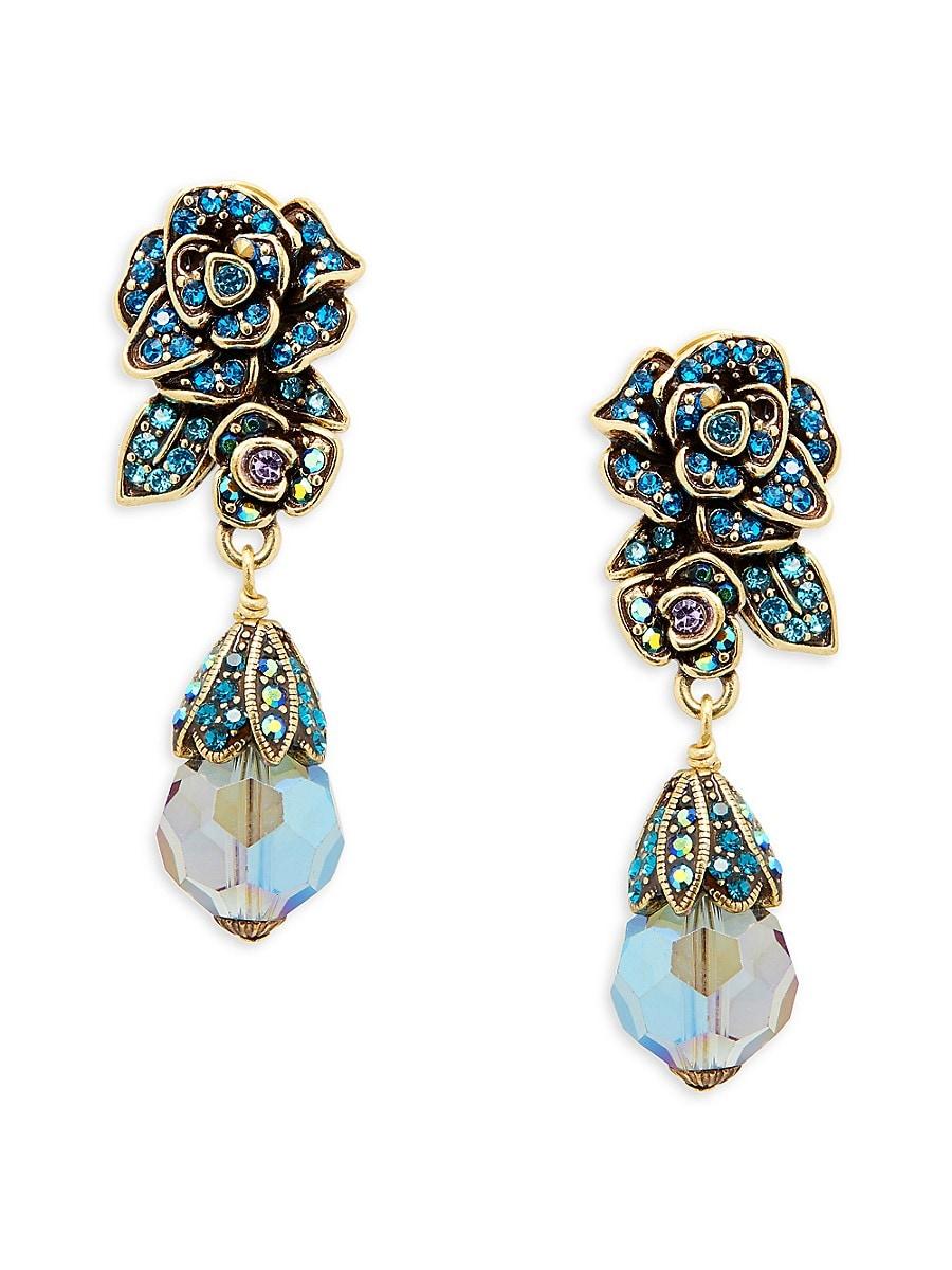 Women's Goldplated & Crystal Flower Drop Earrings