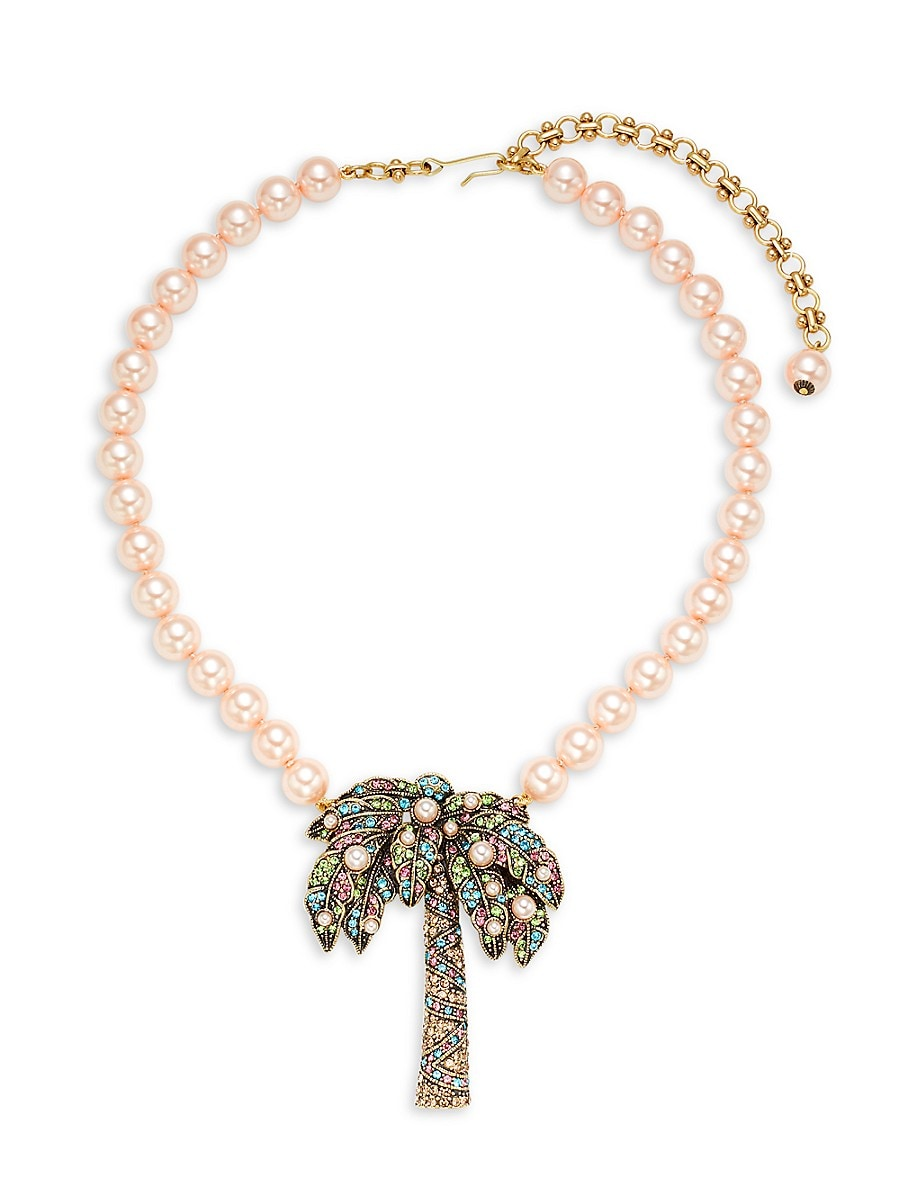 Women's Faux Pearl & Crystal Palm Tree Necklace