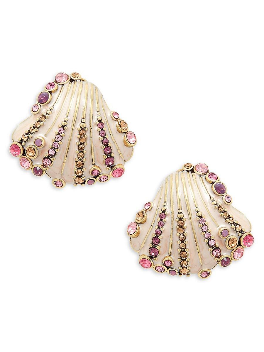 Women's Goldtone & Crystal Shell Earrings