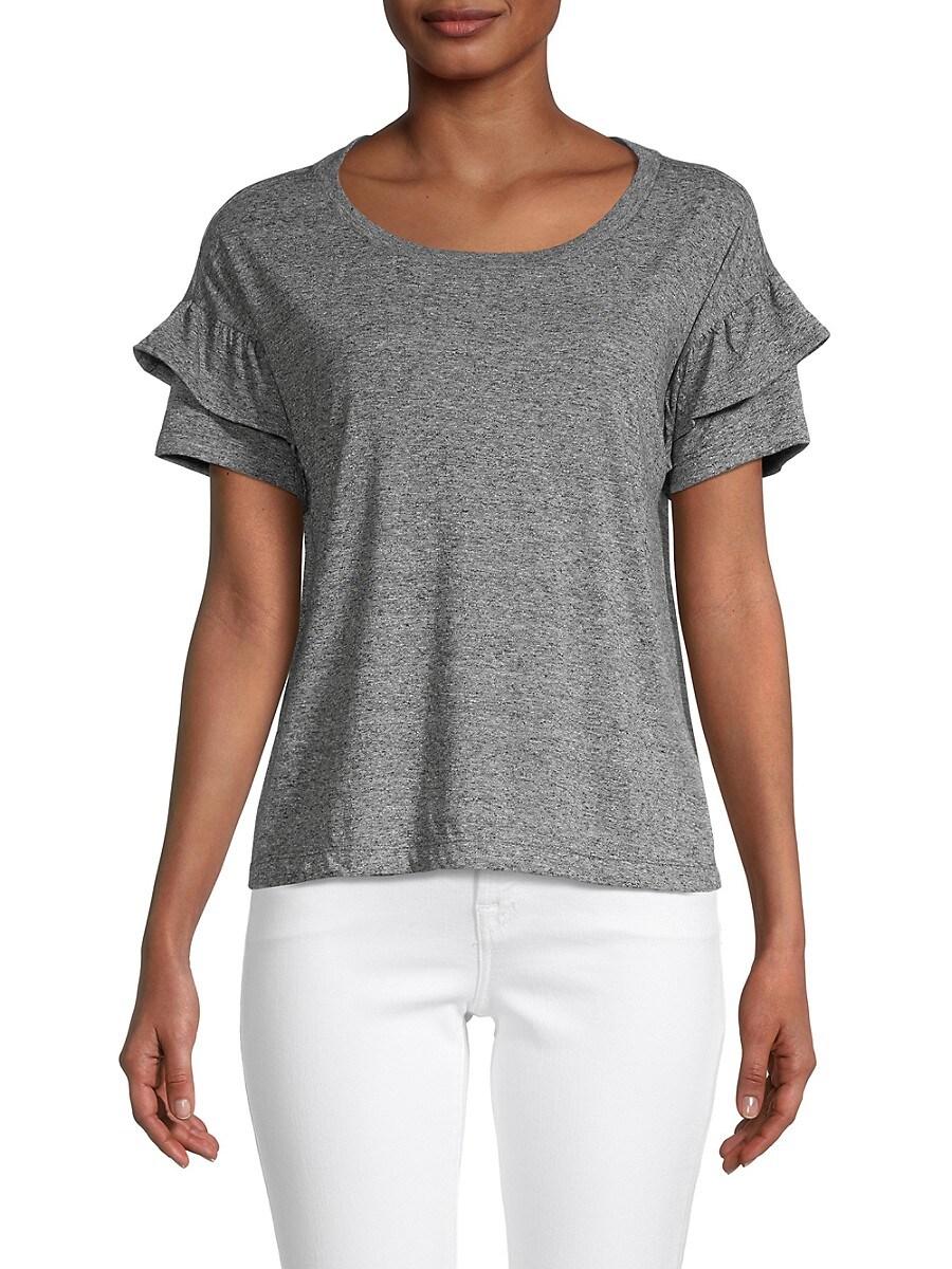 Women's Ruffle-Sleeve Heathered Top