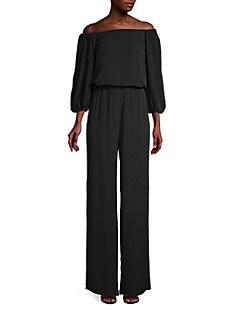 띠어리 Theory Off-The-Shoulder Silk Jumpsuit,BLACK