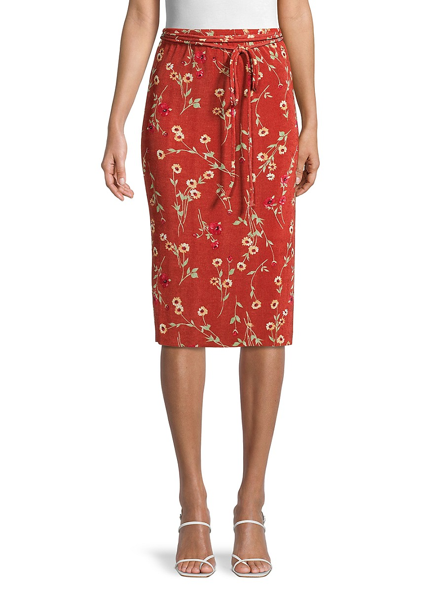 Women's Floral Belted Skirt