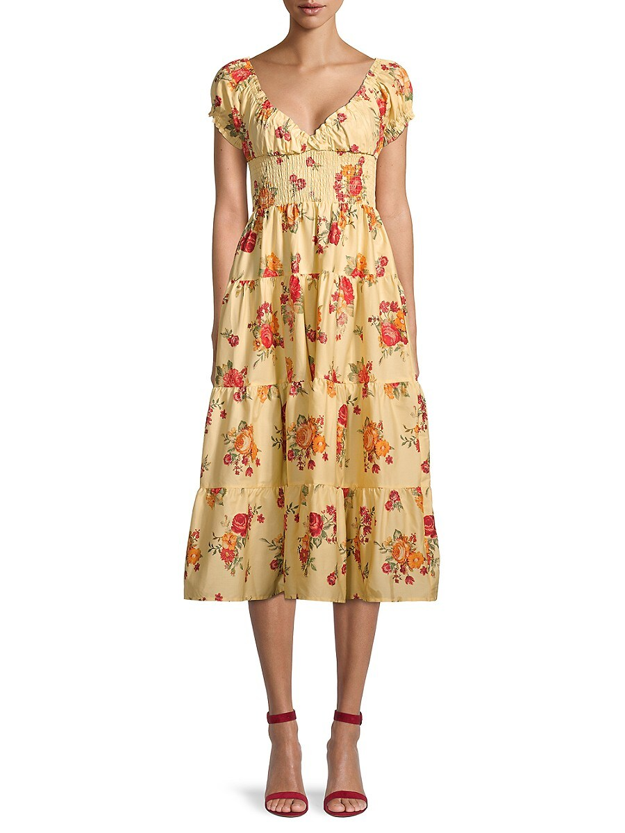 Women's Floral Shirred Tiered Dress