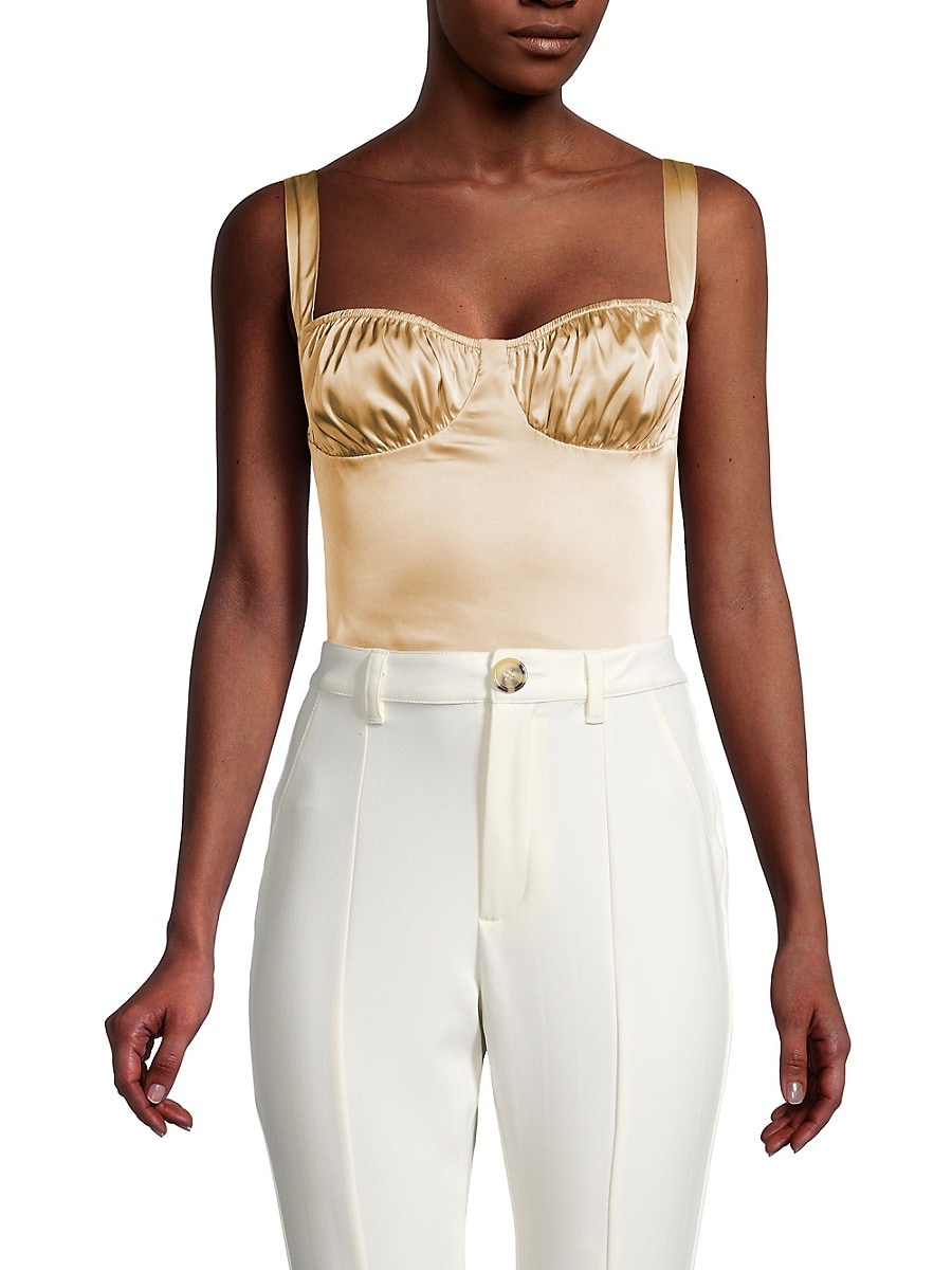 Women's Ruched Satin Bodysuit