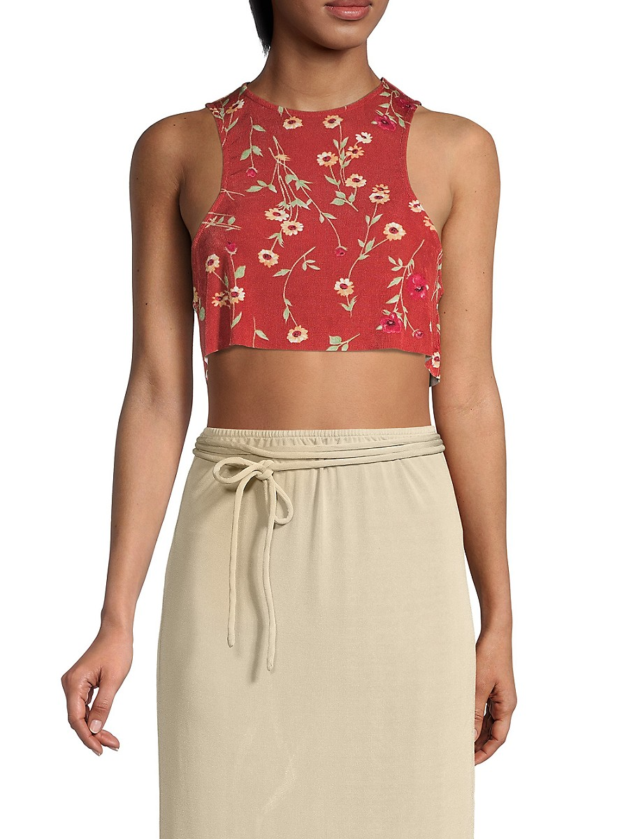 Women's Floral Cropped Tank Top