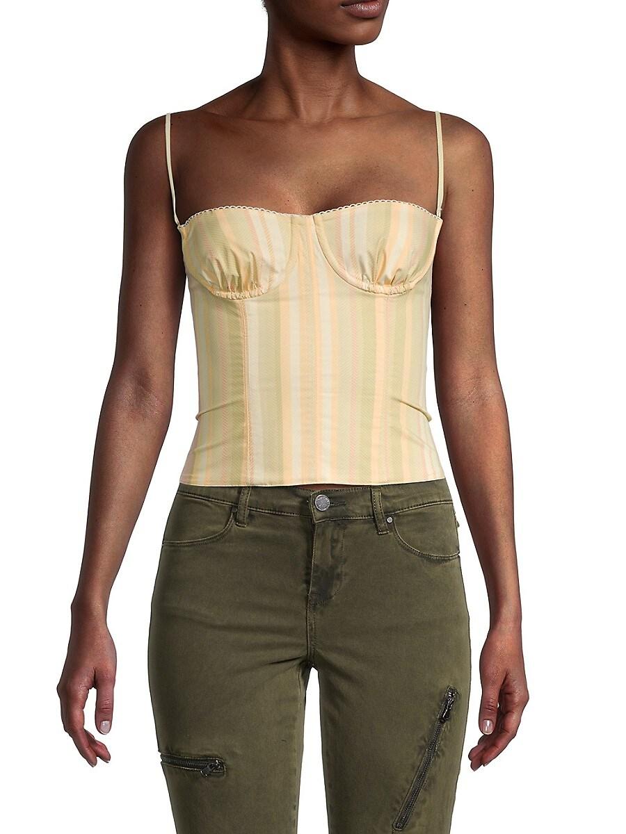 Women's Striped Underwire Corset Crop Top