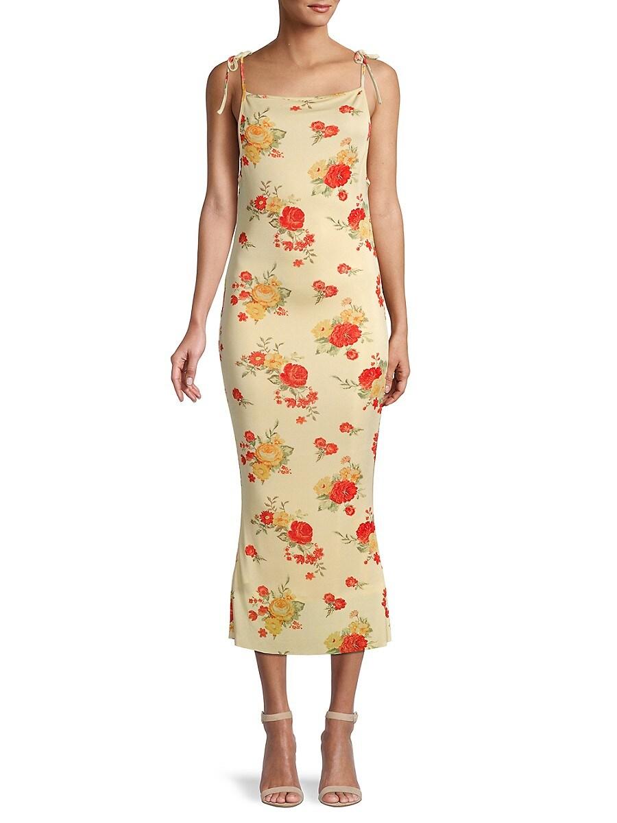 Women's Floral Tie-Shoulder Midi Dress