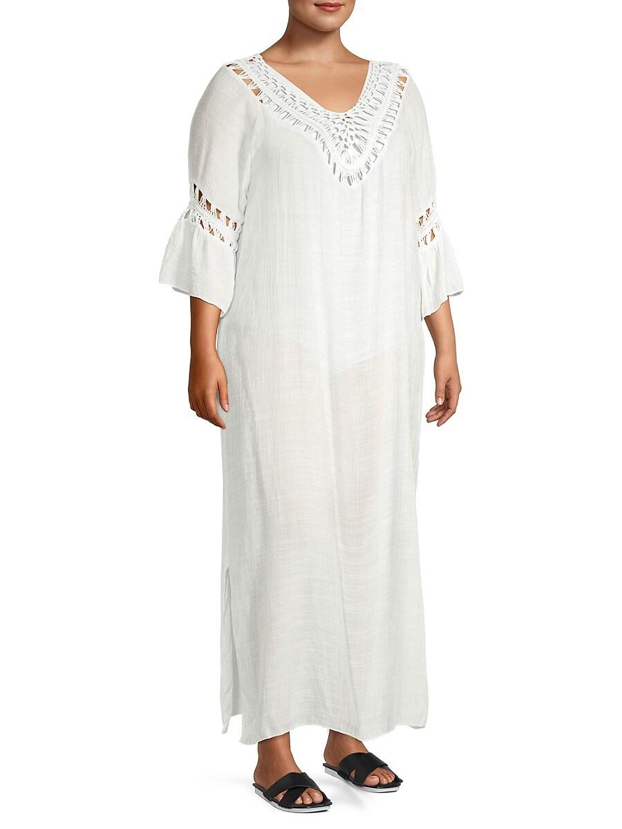 Women's Plus Crochet Maxi Coverup Dress