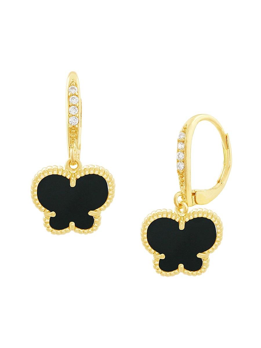 Women's Butterfly Collection 14K Goldplated & Jet Onyx Drop Earrings