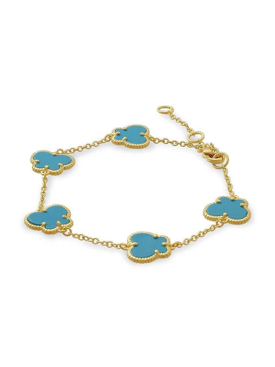 Women's Butterfly 14K Goldplated & Turquoise Bracelet