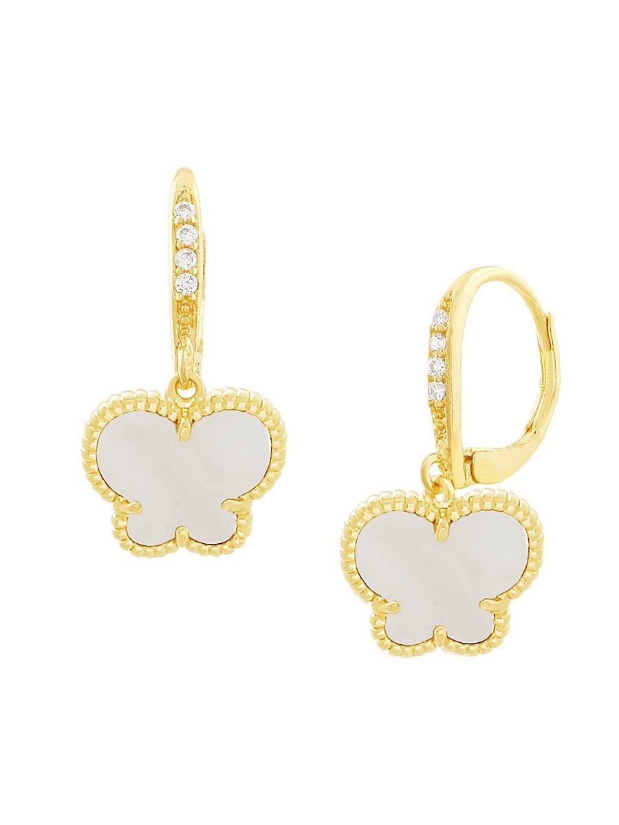 Women's Butterfly 14K Goldplated & Mother of Pearl Drop Earrings