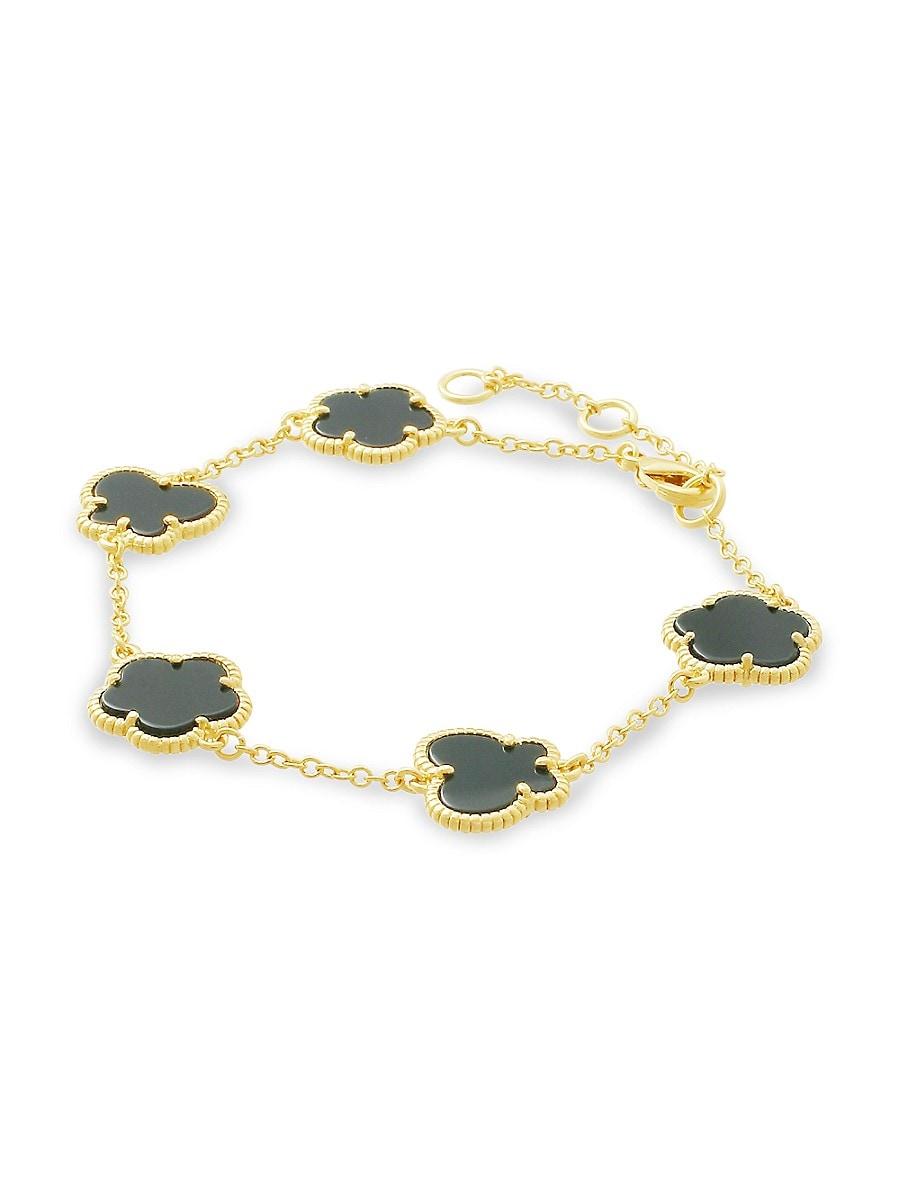 Women's Flower & Butterfly 14K Goldplated & Jet Onyx Bracelet