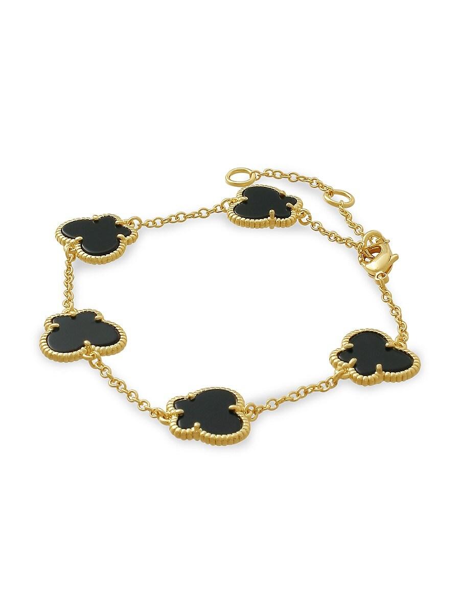 Women's Butterfly 14K Goldplated & Onyx Bracelet
